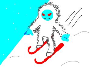 Yeti on skis