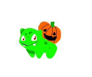 Bulbasaur with a pumpkin instead of a bud