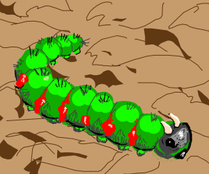 "Green Caterpillar has Horns & Red Jelly ""Run"""