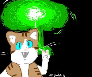 cat selfie infront of a green blast