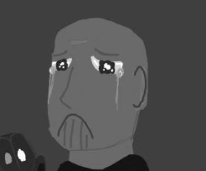 gray thanos is sad