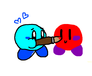 Blue kirby paints red kirby and blushes