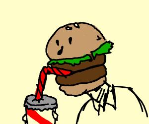 Hamburger drinking a milkshake