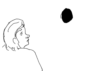 Girl looks at a black hole