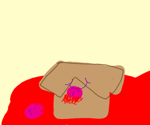 Box in pool of blood with tongue cut in half