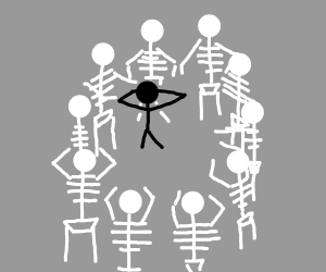 Surrounded by skeletons