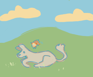 Guinea pig jumping over a doggo