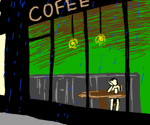 man with coffe looking outside were a storm