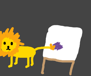 Lion paints canvas using tail as brush