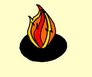 fire in a black circle