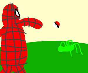 Spiderman throws a Pokeball to a Green Spider