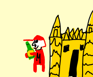 German Mario leaving mushroom castle w/ beer