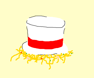 Instant Ramen inside a white top hat
