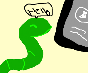 Snake says henlo into phone