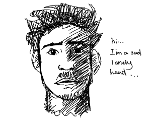 Sad lonely head