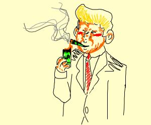 donald trump smoking cash