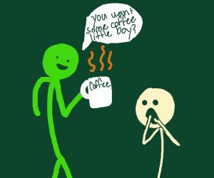 green man sharing coffee with a boy