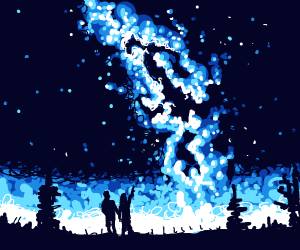 A couple looking at the pretty starry sky