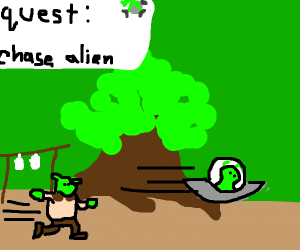 shrek chases alien for a quest