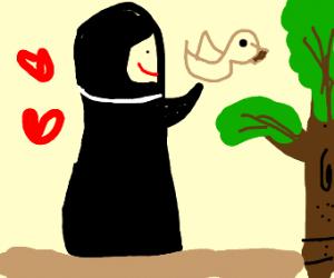 Nun has pet bird
