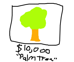 $10000 painting of palm trees