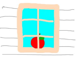 Apple in window