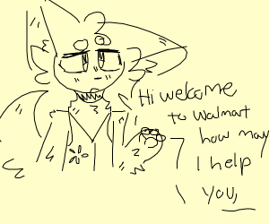 Furry working at Walmart