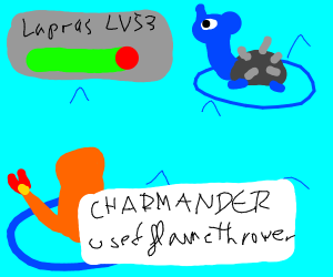 Charmander breathing fire on lapras