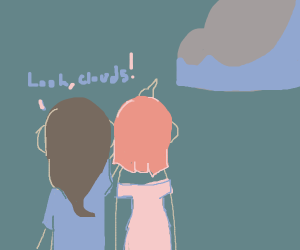 """Person saying """"look clouds"""" to another person"""