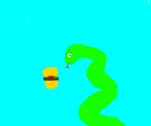 Snake is gonna eat a burger