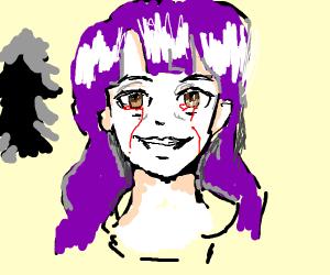 Creepy pale anime girl with purple hair