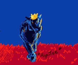 King Rhino Tip-Toeing Across Red Grass