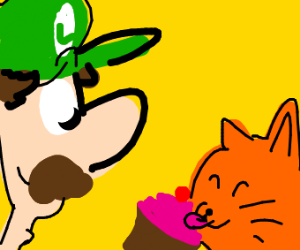 luigi feeding a cat cupcake, i think?!
