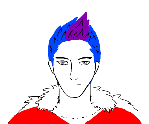 npc meme but he has a purple mohawk