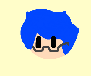 Guy with glasses and blue hair