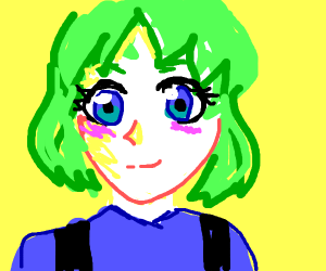 Anime girl with green hair + overalls