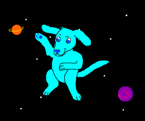 A Cyan Dog In Space