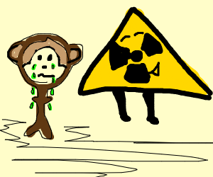 The radioactivity makes the monkey cry green