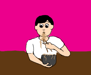hungry lad eating ramen