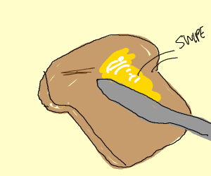 Swiping butter on toast with knife
