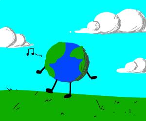 Mini-Earth humming and walking on grass