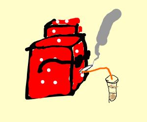 dank dice drinking coffee