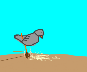 bird sweeping up dust with broom