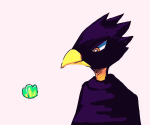 Edgy bird from MHA looks at a small jello