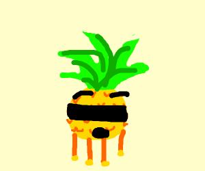 Surprised blindfolded pineapple