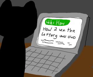 Cat searches wikihow on how to win lottery