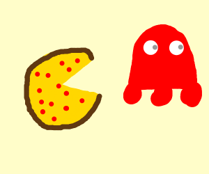 pacman made of pizza