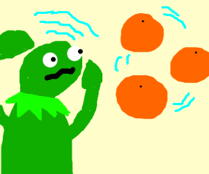 Kermit juggling oranges with psychic powers