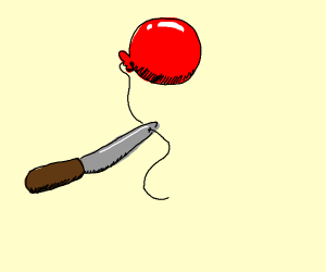 Knife stabs balloon string