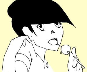 anime girl w glasses eats a lollipop